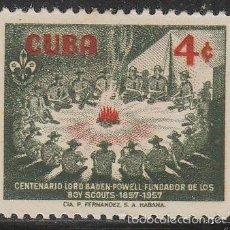 Sellos: CUBA 565, CENTENARIO DE BADEN POWELL, FUNDADOR DE LOS BOY SCOUT, NUEVO CON SEÑAL DE CHARNELA. Lote 58813631