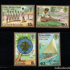 Sellos: GILBERT 52/55** - AÑO 1977 - 50º ANIVERSARIO DE LA ORGANIZACION SCOUT DE GILBERT. Lote 84965492