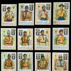 Sellos: SELLOS TEMÁTICA BOY SCOUTS MANAMA 16 UNIFORMES DIFERENTES PAÍSES 1971. Lote 90687580