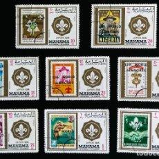 Sellos: 8 SELLOS TEMÁTICA BOY SCOUTS MANAMA 13 JAMBOREE JAPAN 1971. Lote 90712080