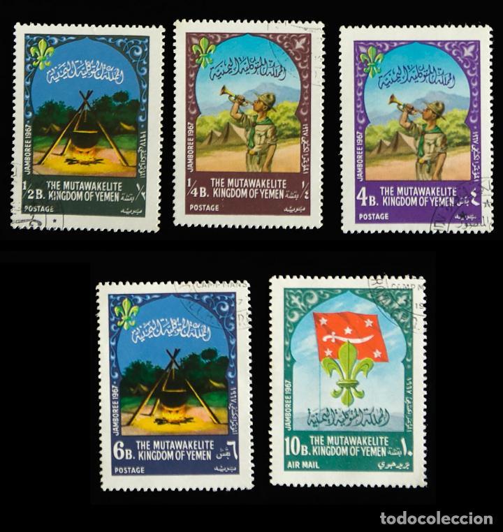 5 SELLOS TEMÁTICA BOY SCOUTS YEMEN 13 JAMBOREE 1967 (Sellos - Temáticas - Boy Scout)