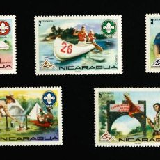 Stamps - 5 Sellos temática boy scouts Nicaragua Jamboree 1975 - 90714160
