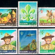 Sellos: EMIRATOS ARABES, RAS AL KHAIMA 195/200, WORLD BOY SCOUT JAMBOREE EN IDAHO, ESTADOS UNIDOS, USADO. Lote 90997130