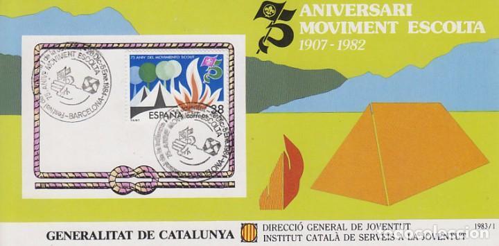 AÑO 1983, 75 AÑOS DEL MOVIMIENTO BOY SCOUT (B), MATASELLO DE 26-12-1983, EN TARJETA RECUERDO (Sellos - Temáticas - Boy Scout)
