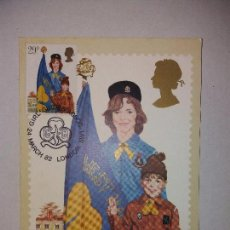 Sellos: GIRL GUIDES AND BROWNIES - POSTAL CON SELLO DE LOS SCOUTS. Lote 101549951