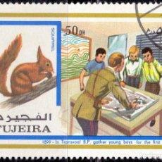 Sellos: 1972 - FUJEIRA - BOY SCOUTS - PIONEROS Y ANIMALES - ARDILLA - MICHEL 900. Lote 101600391