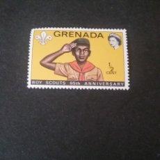 Sellos: SELLOS DE GRENADA (GRANADA) NUEVOS. 1972. ANIVERSARIO. BOY SCOUT. SALUDO. UNIFORME. REINA. EMBLEMA.. Lote 112037783