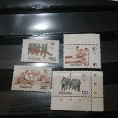 Sellos: SELLOS R. UNIDA TANZANIA NUEVOS. 1986. AÑO INTERNACIOANL JUVENTUD. GLOBO TERRAQUEO. MEDICO. ENFERMER. Lote 126361751