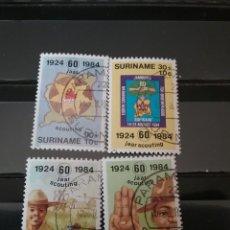 Sellos: SELLOS R. SURINAM (SURINAME) MTDOS. 1984. ANIVERSARIO. SXOUT. ARBOL. EMBLEMA. MAPA. NATURALEZA.. Lote 131349642
