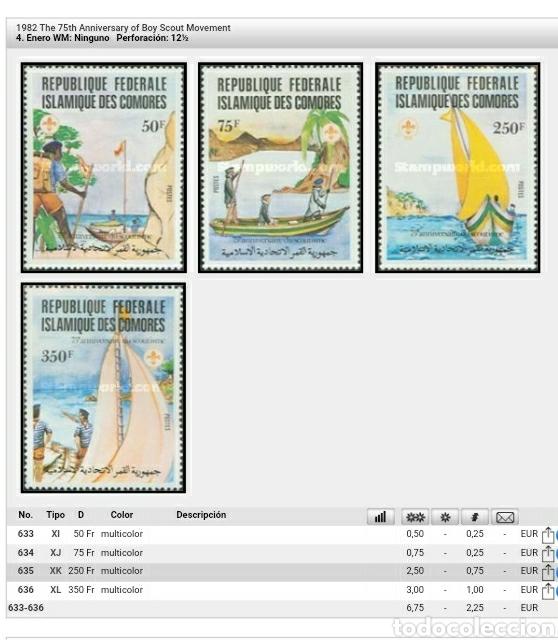 Sellos: Sellos U. Comoras (R.F.I. Comores) nuevos/1982/75 Aniv. movimiento Boy Scouts/barca/velero/paisajes - Foto 2 - 137613566