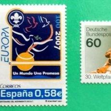 Sellos: OFERTÓN :2SELLOS CENTENARIO ESCULTISMO(ESPAÑA) 1CONFERENCIA SCOUT MUNDIAL 1985(MUNICH).PRECIO FINAL. Lote 144928378