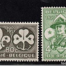 Sellos: BELGICA 1022/23** - AÑO 1957 - SCOUT - CENTENARIO DEL NACIMIENTO DE LORD BADEN POWELL. Lote 151116342