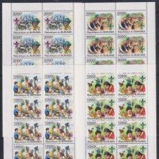 Sellos: BURUNDI 2011 - 4 HB - 10 SERIES COMPLETAS - SCOUTISMO INTERNACIONAL - NUEVAS, SIN FIJASELLOS. Lote 152553294
