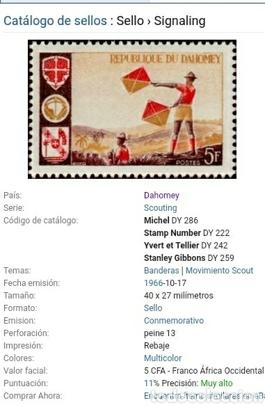 Sellos: Sellos Reino Dahomey (Benin) mtdos/1966/Scout/señalizacion/paisaje/naturaleza/banderas/uniformes/ - Foto 2 - 153815545