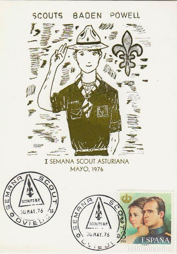 1976, OVIEDO (ASTURIAS), SEMANA SCOUT, EN TARJETA DE LA SEMANA. (Sellos - Temáticas - Boy Scout)