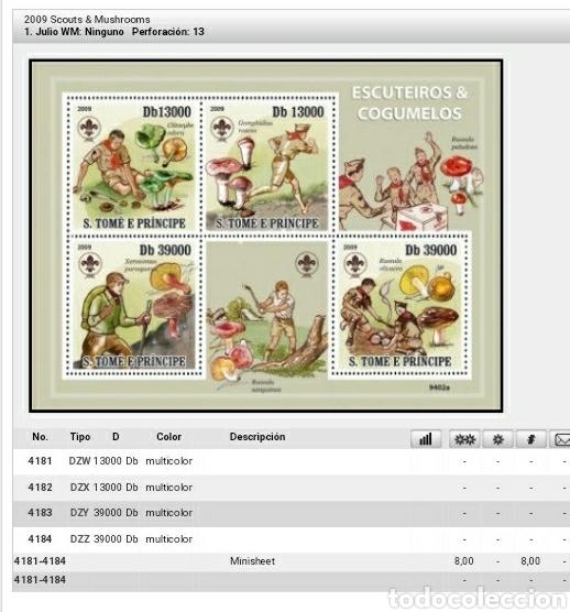 Sellos: HB S. Tome y Principe mtdos/2009/Boy scouts/hongos/setas/plantas/jovenes/flora - Foto 2 - 162422916