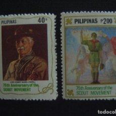 Sellos: FILIPINAS Nº YVERT 1273/4*** AÑO 1982. 75 ANIVERSARIO DEL SCOUTISMO. Lote 161846514