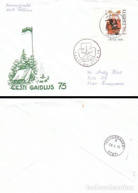ESTONIA, REUNION'75 BOY SCOUT, MATASELLO DEL 25-4-1985, SOBRE CIRCULADO (Sellos - Temáticas - Boy Scout)