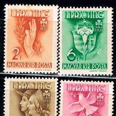 Sellos: HUNGRIA Nº 638/41, FIESTA DE LAS ORGANIZACIONES FEMENINAS DE LOS SCOUT AÑO 1939 NUEVO ***. Lote 211786658
