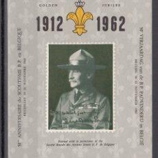 Sellos: BEGICA, 1962 HOJA BLOQUE, 20 ANIVERSARIO 1912 - 1952 BOY SCOUTS, . Lote 172346159