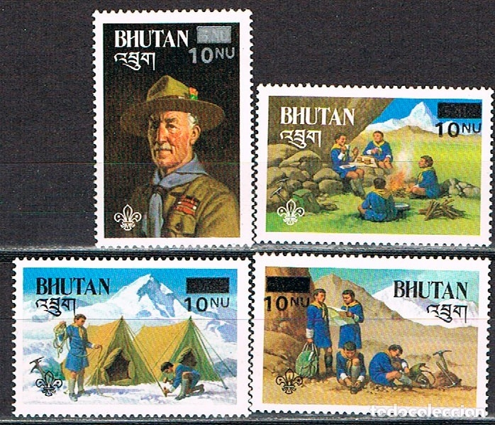 BHUTAN 769/72, 75 ANIVERSARIO DEL MOVIMIENTO SCOUT, NUEVO *** (Sellos - Temáticas - Boy Scout)