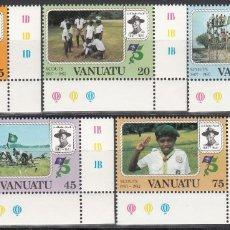 Sellos: VANUATU, 1982 YVERT Nº 657 / 661, BOY SCOUTS, 125 CUMPLEAÑOS DE ROBERT BADEN-POWELL. Lote 173172175