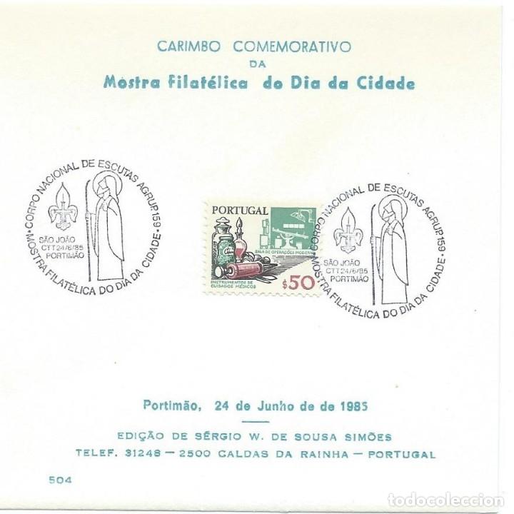 1985. PORTUGAL. PORTIMAO. MATASELLOS/POSTMARK. EXPOSICIÓN FILATÉLICA. ESCULTISMO/SCOUTING. (Sellos - Temáticas - Boy Scout)