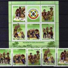 Sellos: GIROEXLIBRIS. CUBA.- BONITA SERIE DE HOJA BLOQUE Y SELLOS DE BOY SCOUTS - SELLOS NUEVOS. Lote 179962226