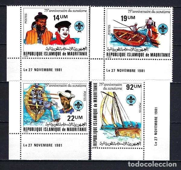 1981 MAURITANIA 75 ANIVERSARIO ESCULTISMO MOVIMIENTO BOY SCOUT - BARCOS NÁUTICA - NUEVOS MNH** (Sellos - Temáticas - Boy Scout)