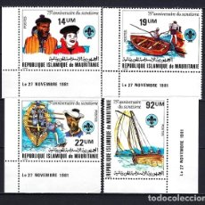 Sellos: 1981 MAURITANIA 75 ANIVERSARIO ESCULTISMO MOVIMIENTO BOY SCOUT - BARCOS NÁUTICA - NUEVOS MNH**. Lote 182462513