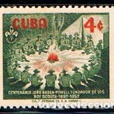 Sellos: CUBA Nº 519, CENTENARIO DEL NACIMIENTO DE BADEN POWELL, NUEVO CON SEÑAL DE CHARNELA. Lote 185740611