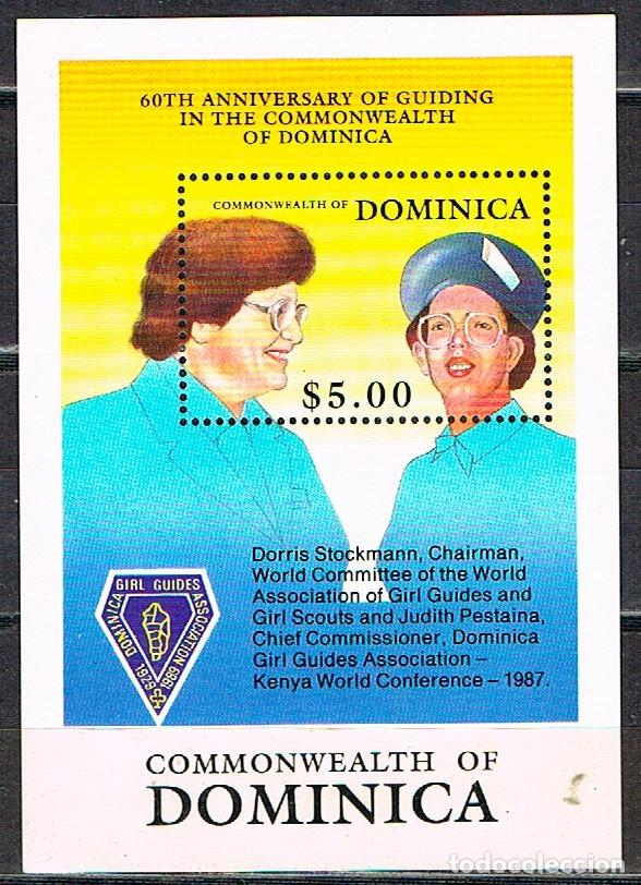 DOMINICA Nº 1294, 60 ANIVERSARIO DE LAS GIRL GUIDING, BOY SCOUT, HOJA BLOQUE NUEVA *** (Sellos - Temáticas - Boy Scout)