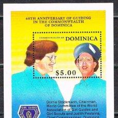 Sellos: DOMINICA Nº 1294, 60 ANIVERSARIO DE LAS GIRL GUIDING, BOY SCOUT, HOJA BLOQUE NUEVA ***. Lote 191906560