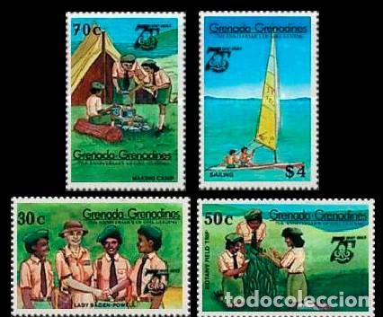 GRENADA-GRENADINAS Nº 667/70, 75 ANIVERSARIO DE LAS GIRL GUIDING, BOY SCOUT, SELLOS NUEVOS *** (SERI (Sellos - Temáticas - Boy Scout)