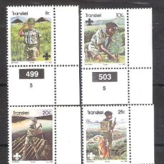 Sellos: TRANSKEI (REP. SUDAFRICANA) Nº 103/106** 75 ANIVERSARIO DE LOS BOY SCOUTS. SERIE COMPLETA. Lote 195409823