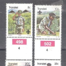 Sellos: TRANSKEI (REP. SUDAFRICANA) Nº 103/106** 75 ANIVERSARIO DE LOS BOY SCOUTS. SERIE COMPLETA. Lote 253408010
