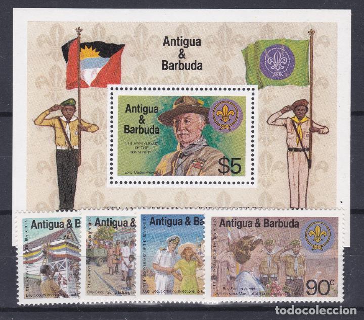 ANTIGUA & BARBUDA.- SERIE 668/71 Y HOJA BLOQUE. NUEVO SIN CHARNELA. (Sellos - Temáticas - Boy Scout)