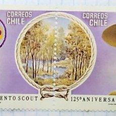 Francobolli: CHILE 125º ANIVERSARIO DEL NACIMIENTO DE LA FUNDACION DEL MOVIMIENTO SCOUT. Lote 201543851