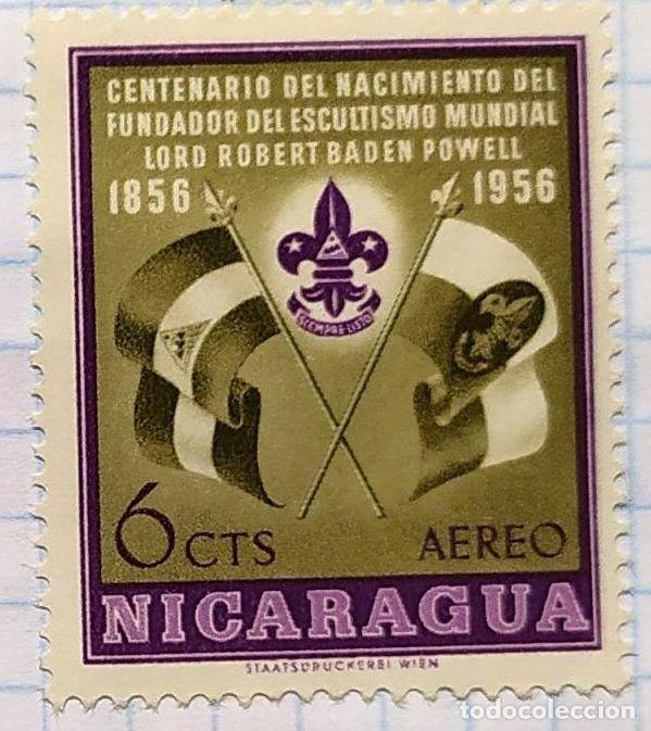 NICARAGUA CENTENARIO NACIMIENTO ESCULTISMO BOY SCOUT BADEM POWELL 1856 - 1956 (Sellos - Temáticas - Boy Scout)