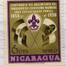 Timbres: NICARAGUA CENTENARIO NACIMIENTO ESCULTISMO BOY SCOUT BADEM POWELL 1856 - 1956. Lote 201850408