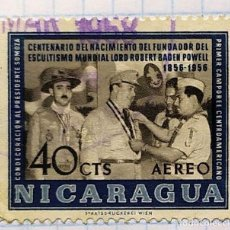 Timbres: NICARAGUA CENTENARIO NACIMIENTO ESCULTISMO BOY SCOUT BADEM POWELL 1856 - 1956. Lote 201850462
