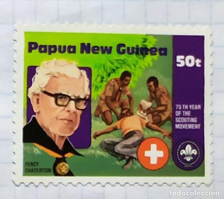 PAPUA NUEVA GUINEA BOY SCOUTS 75 TH YEAR SCOUTING MOVEMENT 01 (Sellos - Temáticas - Boy Scout)