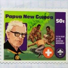 Francobolli: PAPUA NUEVA GUINEA BOY SCOUTS 75 TH YEAR SCOUTING MOVEMENT 01. Lote 201925711