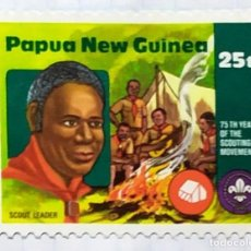 Timbres: PAPUA NUEVA GUINEA BOY SCOUTS 75 TH YEAR SCOUTING MOVEMENT 03. Lote 201925811