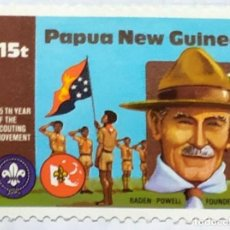 Timbres: PAPUA NUEVA GUINEA BOY SCOUTS 75 TH YEAR SCOUTING MOVEMENT 04. Lote 201925857