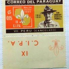 Timbres: PARAGUAY BOY SCOUT ROBERT BADEN POWELL CENTENARIO EPOPEYA NACIONAL ENERO 1965 PERO CANCELADO. Lote 201938787