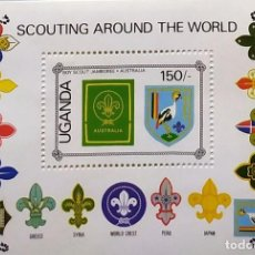 Timbres: UGANDA BOY SCOUTING AROUND THE WORLD COLECCION EMBLEMAS SELLOS QUINCE PAISES. Lote 202090972