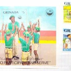 Sellos: GRENADA GRENADIES 4 TH CARIBBEAN CUBOREE 1985 GRAND CIROLE GROWING TO PARTICPATE TRES SELLOS. Lote 202095218
