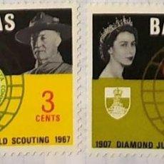Sellos: BAHAMAS 1967 DIAMOND JUBILEE WORLD SCOUTING PAR DE SELLOS QUEEN AND BADEN POWELL. Lote 202268850