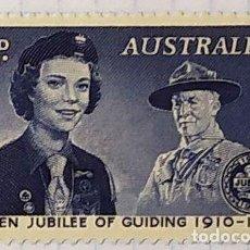 Sellos: AUSTRALIA BOY SCOUTS GOLDEN JUBILEE OF GUIDING BADEN POWELL 1910 1960. Lote 202271551